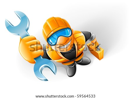 service man worker with key in the arm - stock vector