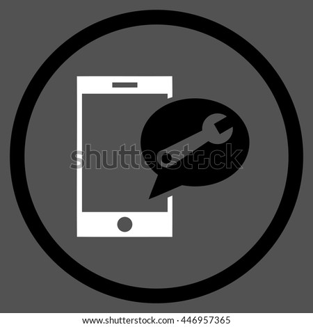 Service SMS vector bicolor icon. Image style is a flat icon symbol inside a circle, black and white colors, gray background. - stock vector