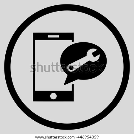 Service SMS vector icon. Image style is a flat icon symbol inside a circle, black color, light gray background. - stock vector