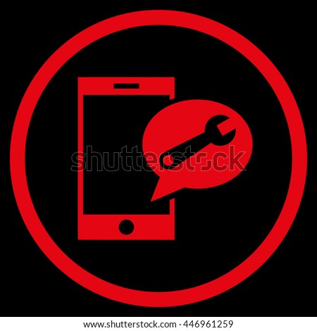 Service SMS vector icon. Image style is a flat icon symbol inside a circle, red color, black background. - stock vector