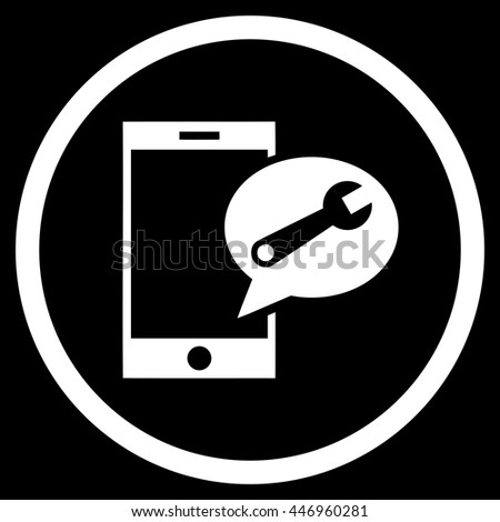 Service SMS vector icon. Image style is a flat icon symbol inside a circle, white color, black background. - stock vector