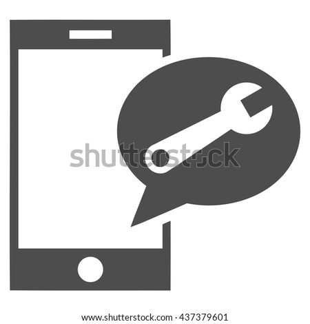 Service SMS vector icon. Style is flat icon symbol, gray color, white background. - stock vector