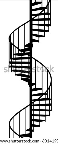 service spiral stair on a white background - stock vector
