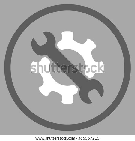 Service Tools vector icon. Style is flat circled symbol, color, rounded angles, white background. - stock vector
