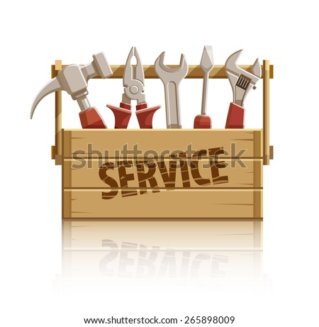 Service wooden box with construction tools. Eps10 vector illustration. Isolated on white background - stock vector