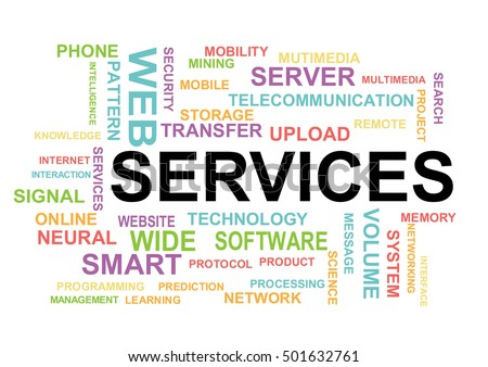 Services word cloud. Information Technology Concept Word Cloud.