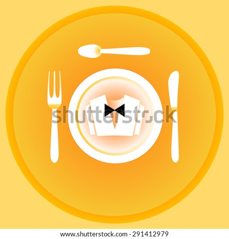 Serving cutlery and napkin. Clothing waiter. Yellow gamma. - stock vector