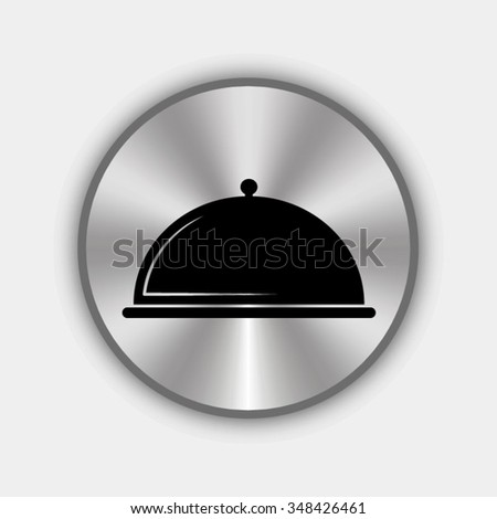 serving food vector icon on round metallic button