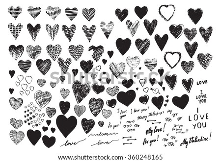 "Set, a collection of painted  hearts with the inscription ""For you!"". Hearts in the style of drawing, doodle, sketch. Vector drawing red hearts isolated on white background. Hearts Valentine's Day. - stock vector"