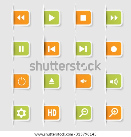 Set, a collection of unique paper stickers icon player