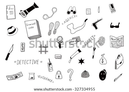 Set a detective Agency to investigate crimes drawn by hand. The outline of the icons of the investigator, a policeman on a white background. - stock vector