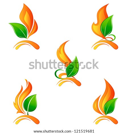 Set a flame of fire with leaves. Elements for design. Vector illustration. - stock vector