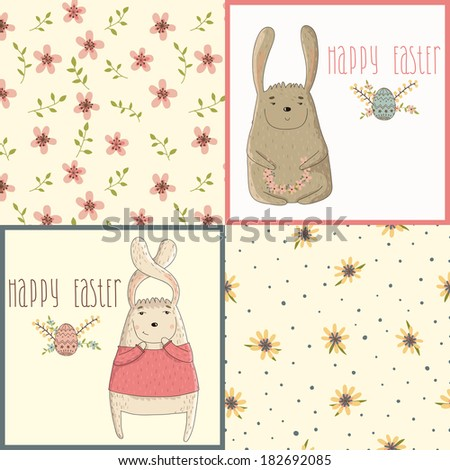 Set a happy Easter greeting card with cute bunny. Seamless floral pattern for design cards - stock vector