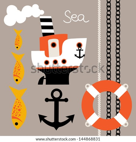 Set a steamer and other marine elements - stock vector