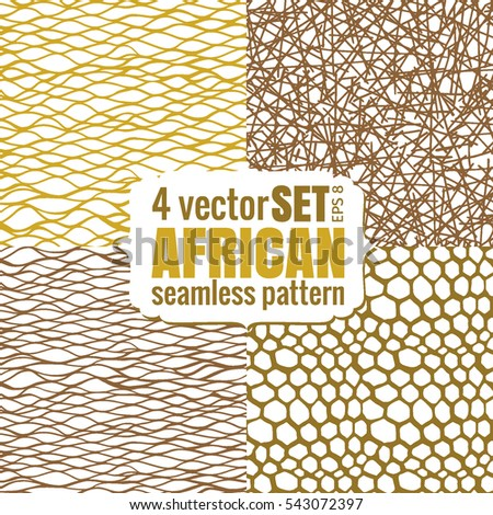 Set Abstract African Print Gold Color Seamless Pattern Allover For Wallpaper Background