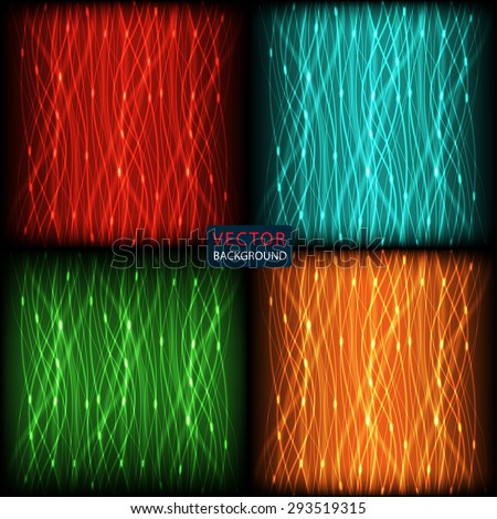 set abstract background of bright neon colored curves vertical lines with glare. vector illustration eps10 - stock vector