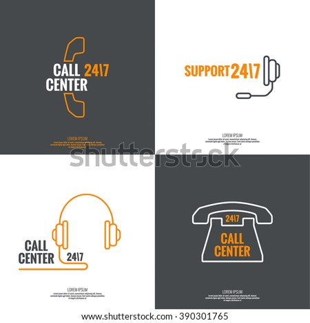 Set Abstract background with handset, handphone. Icon. Call technical support. 24, 7. helpline, support service. Contacts. vector. Flat design with shadow. minimal, outline, pictogram  - stock vector