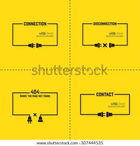 Set Abstract backgrounds with wire plug and socket. Concept connection, disconnection. Flat design. Speech Bubble. 404 connection error. - stock vector