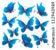 Set abstract blue butterflies with opened wings on white background. Vector - stock vector