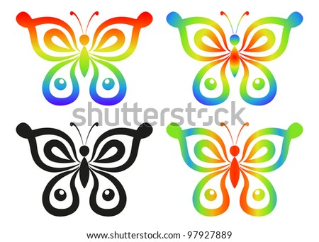 Set abstract butterflies, coloured and black contour silhouettes on white background. Vector - stock vector