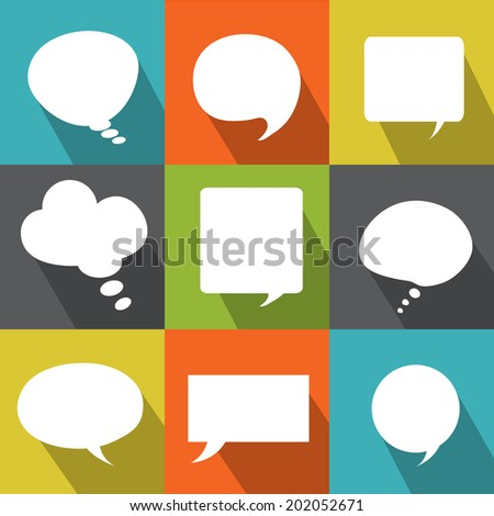 Set abstract flat vector white speech bubbles. Each element separately isolated. Vector collection elements for your design. - stock vector