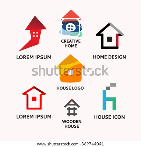 Set Abstract House Logo Design Template Stock Vector 369744041 ...
