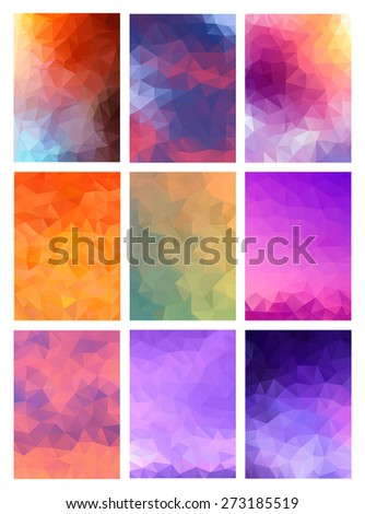 Set abstract modern poligonal background for site brochure, banner and covers, made with geometrical shapes to use for posters, book cover, invitation, flyer and advertisement material - stock vector