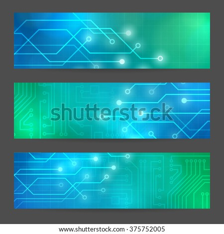 Set Abstract technology computer vector banners circuit board vector background.  - stock vector