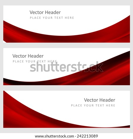 Set abstract vector banners with smooth shiny red waves