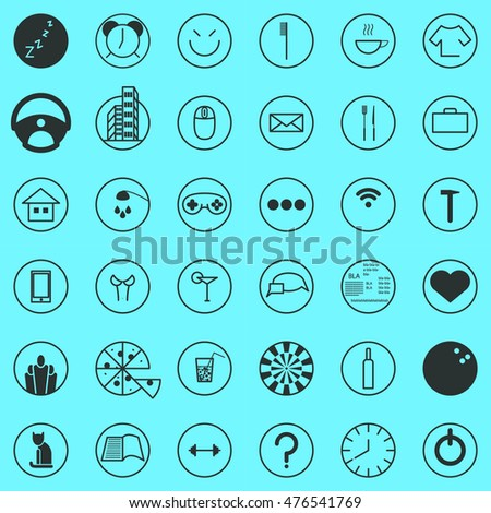 Set activity routine icons of office man all day long