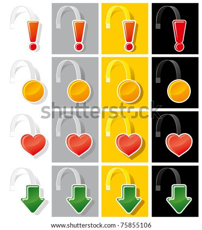Set advertising wobbler of various shapes and colors. Vector. - stock vector
