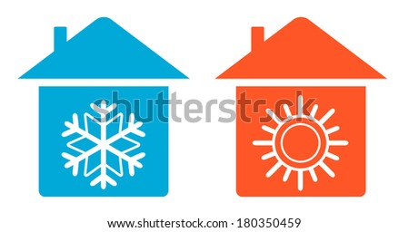 set air conditioning icon - warm and cold in home - stock vector