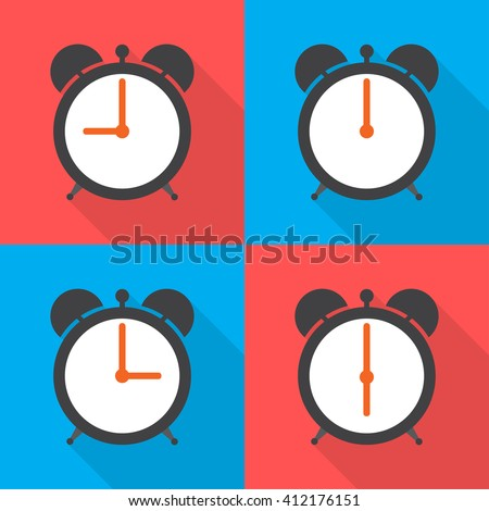 Set alarm clocks with different time from  morning - stock vector