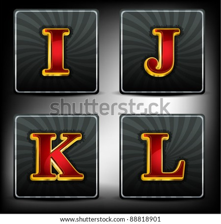 Set alphabet in red and gold embossed system font - stock vector