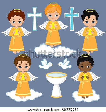 Set Angel boy on the sky with pigeons. Baptism - stock vector