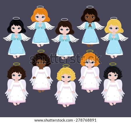 Set Angel girls. Baptism - stock vector