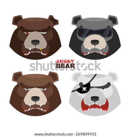 Set angry bears. For logo and emblem sport club. Bear's mouth with fangs - stock vector