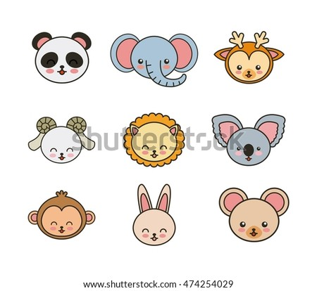 set animals cute tender isolated icon vector illustration design