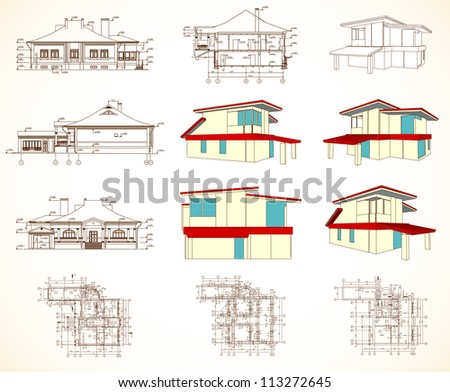 Set architectural objects. Vector - stock vector