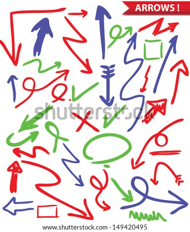Set arrows drawing,vector