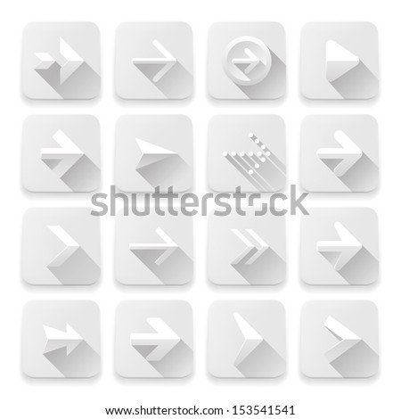 Set arrows icons, vector illustration of white app buttons, web design elements.   - stock vector