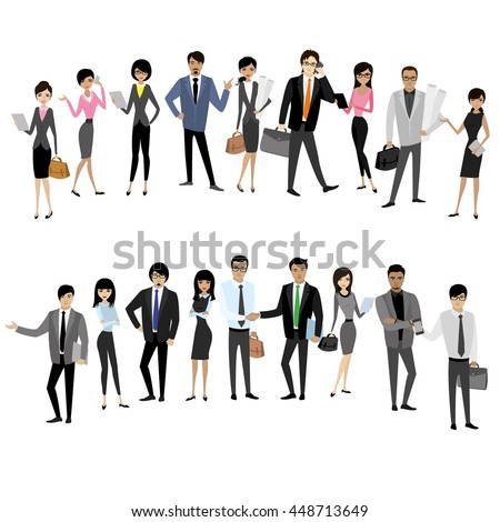 Set Asian businessmen and business women isolated on white background, cartoon stock vector illustration