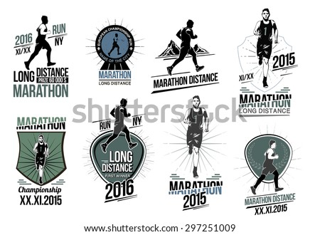 Set athletics logotype labels design element. Long distance running and competition . Set run club logos. Running man silhouette. Triathlon, active fitness logo, icons. Exercise and athlete logo. - stock vector