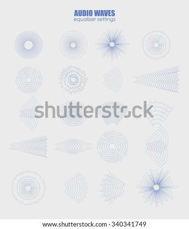 set audio equalizer technology, pulse musical. Audio equalizer sound wave display horizontal. abstract isolated vector illustration. Radial radiation signal - stock vector