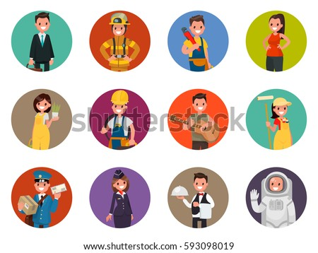 Set avatars characters of different professions: firefighter, astronaut, plumber and others. Vector illustration in a flat style