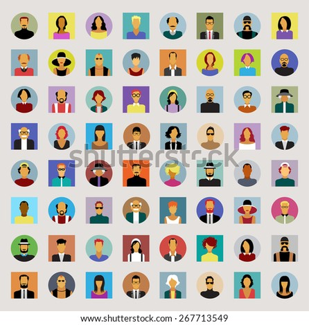 Set avatars people. Modern flat design icons. Background with icons of people. The file is saved in the version AI10 EPS.  - stock vector