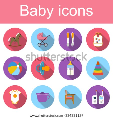Set baby icons. Collection of colored icons of toys and child care articles. Icons vector illustration in flat design with long shadow. - stock vector