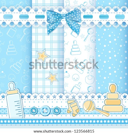 Set baby patterns. Vector illustration. - stock vector