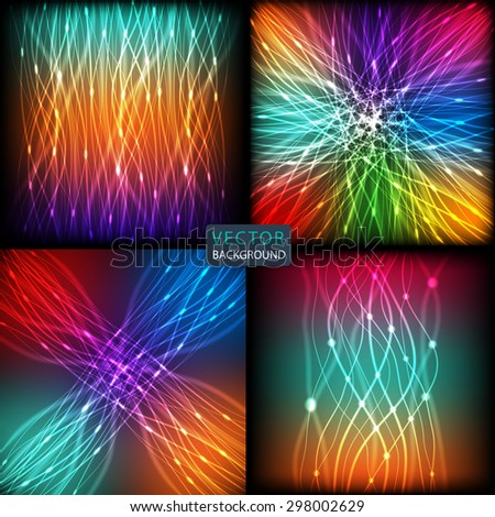 set background abstract of bright neon colored curves lines with glare. vector illustration eps10 - stock vector
