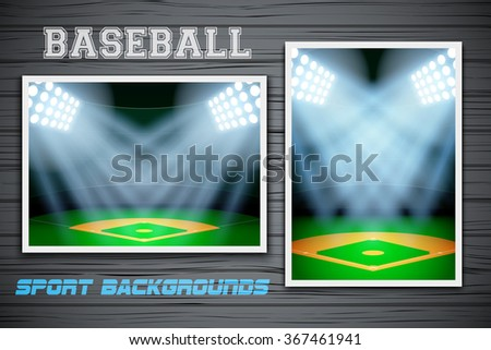 Set Backgrounds of night baseball stadium. Horizontal and vertical orientation. Editable Vector Illustration. - stock vector